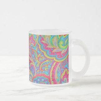 Conception florale vintage colorée mignonne mug en verre givré