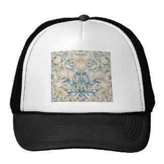 Conception florale vintage d'art de lis et de casquette