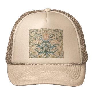 Conception florale vintage d'art de lis et de casquettes de camionneur