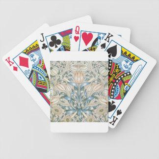 Conception florale vintage d'art de lis et de jeu de cartes
