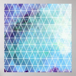 Conception géométrique sale bleue de triangle poster