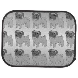 Conception grise de chien de carlin tapis de voiture