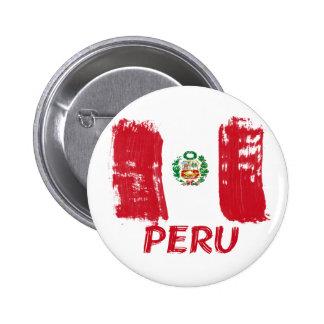 Conception grunge péruvienne de drapeau badge rond 5 cm