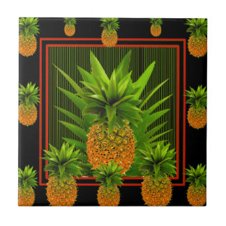 CONCEPTION HAWAÏENNE D'ANANAS DE BLACK-GREEN PETIT CARREAU CARRÉ