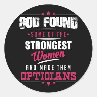 Conception hilare de profession d'opticiens faite sticker rond