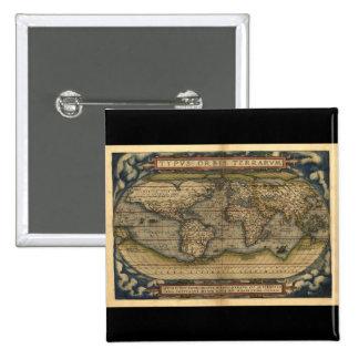 Conception historique du monde d'atlas vintage de  badges avec agrafe