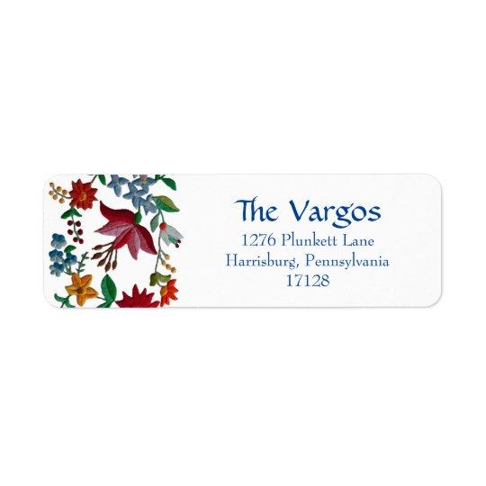 Conception hongroise de broderie de fleur étiquette d'adresse retour
