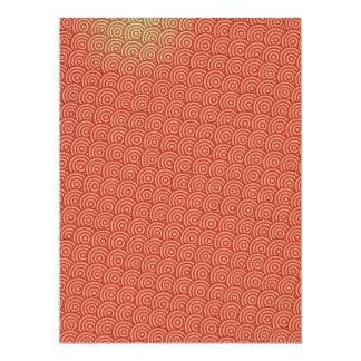 conception intéressante dessinée rouge de motif de carton d'invitation  16,51 cm x 22,22 cm
