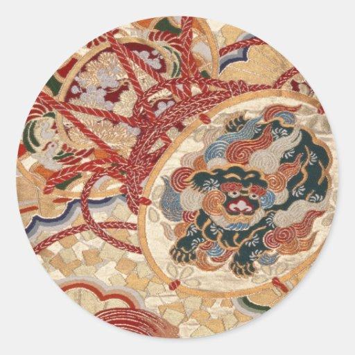 Conception japonaise traditionnelle de tissu autocollant rond
