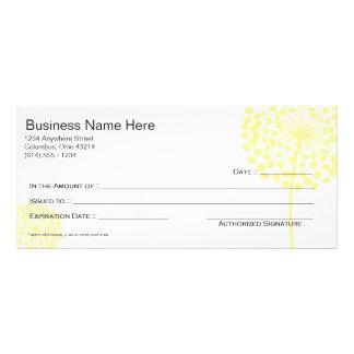 Conception jaune 3 de certificat-prime de fleur de doubles cartes
