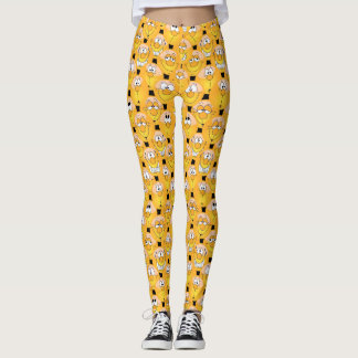 Conception jaune d'Emoji d'amusement Leggings
