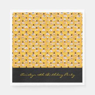 Conception jaune drôle d'Emoji de visage Serviette En Papier