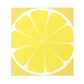 Conception jaune lumineuse de tranche d'agrumes de blocs notes