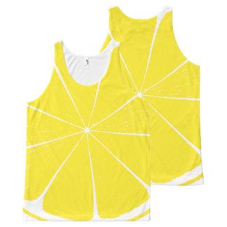Conception jaune lumineuse de tranche d'agrumes de débardeur tout-imprimé