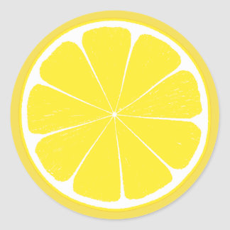 Conception jaune lumineuse de tranche d'agrumes de sticker rond