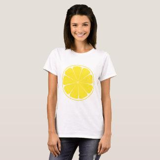 Conception jaune lumineuse de tranche d'agrumes de t-shirt