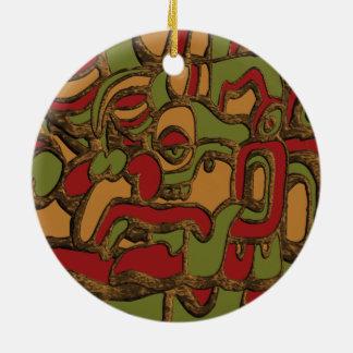 Conception maya d'hiéroglyphes ornement rond en céramique