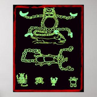 Conception maya verte fraîche affiche