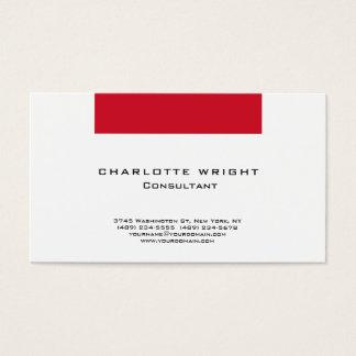 Conception minimaliste moderne blanche rouge cartes de visite