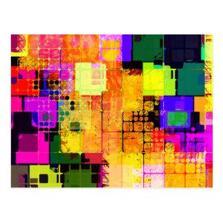 Conception multicolore géométrique géniale carte postale