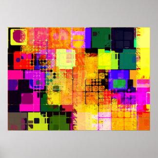 Conception multicolore géométrique géniale poster