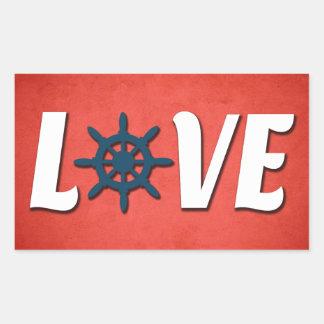 Conception nautique d'amour sticker rectangulaire