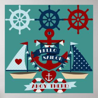 Conception nautique de bateau à voile d'ancre de m affiches