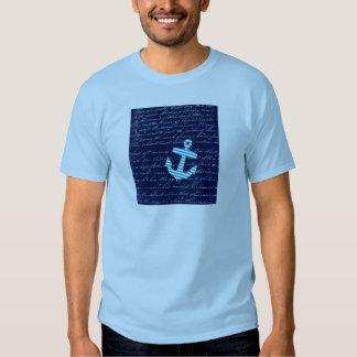 Conception nautique d'écriture d'ancre de rayure t-shirt