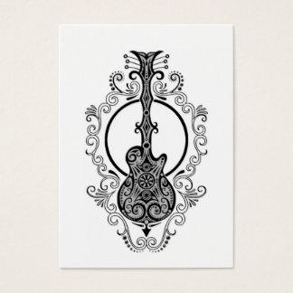 Conception noire complexe de guitare sur le blanc cartes de visite