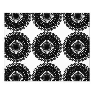 Conception noire de motif de dentelle. Coutume Prospectus 11,4 Cm X 14,2 Cm