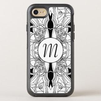 Conception noire et blanche moderne w/Monogram Coque Otterbox Symmetry Pour iPhone 7