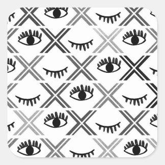 Conception noire et blanche originale de yeux sticker carré