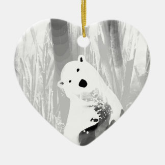 Conception noire et blanche unique d'ours blanc ornement cœur en céramique