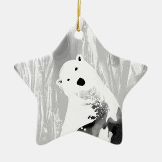 Conception noire et blanche unique d'ours blanc ornement étoile en céramique