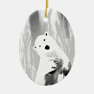 Conception noire et blanche unique d'ours blanc ornement ovale en céramique