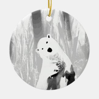 Conception noire et blanche unique d'ours blanc ornement rond en céramique