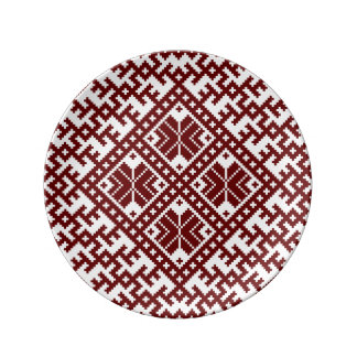 Conception nordique traditionnelle rouge assiette en porcelaine
