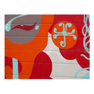 Conception orange abstraite d'art de rouge bleu carte postale