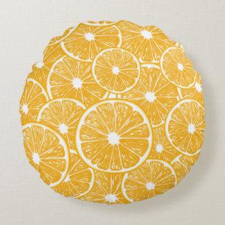 Conception orange de motif de tranches coussins ronds