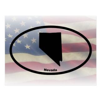 Conception ovale de silhouette du Nevada Carte Postale