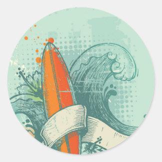 Conception patinée de planche de surf sticker rond