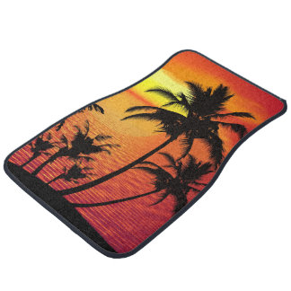 Conception pittoresque de palmier de plage tapis de voiture