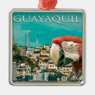 Conception postale touristique de Guayaquil Ornement Carré Argenté
