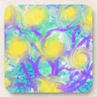 Conception psychédélique d'art abstrait de jaune dessous-de-verre