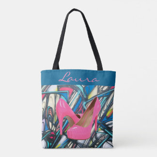 Conception rose abstraite colorée de motif de tote bag