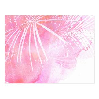 Conception rose abstraite de feuille de palmier carte postale