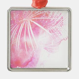 Conception rose abstraite de feuille de palmier ornement carré argenté