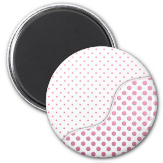 Conception rose et blanche douce de motif de point magnet rond 8 cm