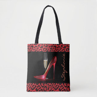Conception rouge de léopard de Champagne de talon Tote Bag