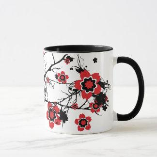 Conception rouge de Sakura de fleurs de cerisier Mug